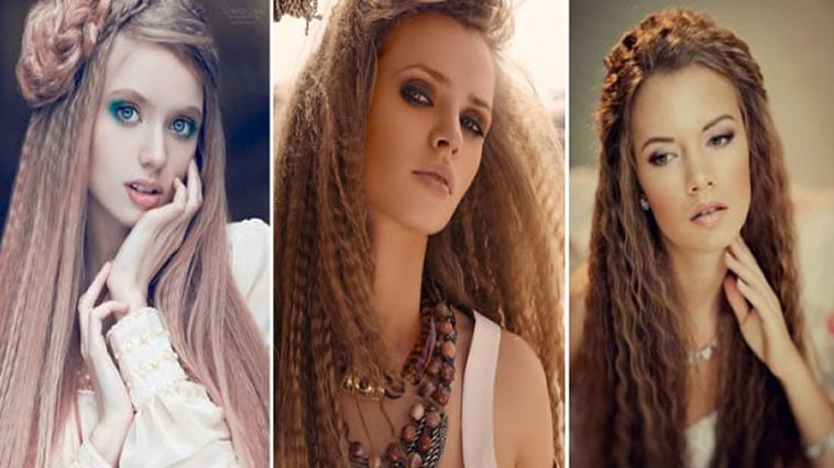 Different ways crimped hairstyles for long hair