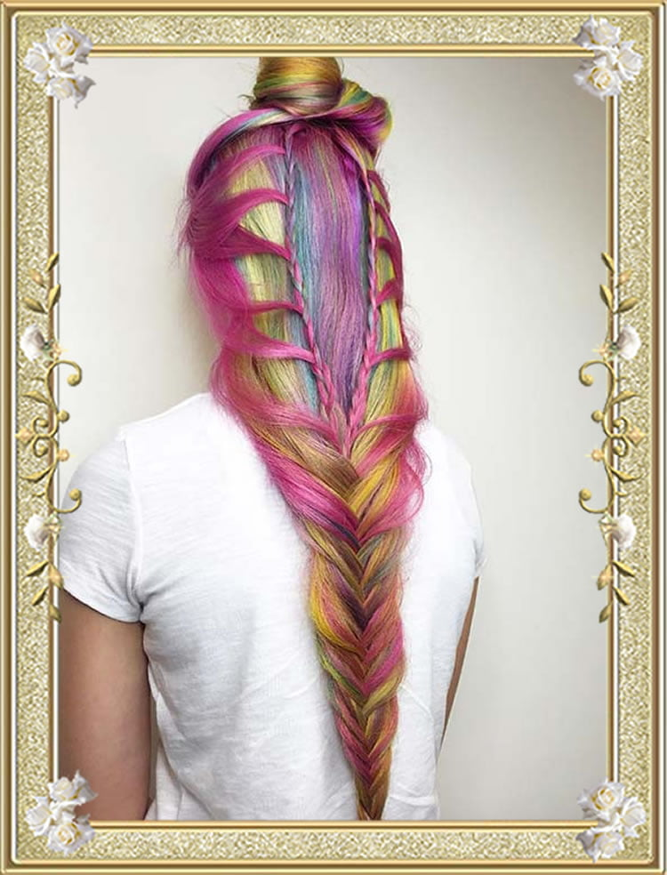 Dutch Fishtail Colored Braided Hairstyles Cascading