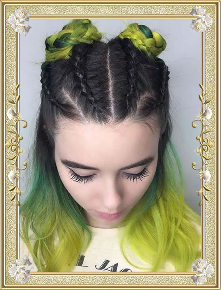 Braided Hairstyles Yellow Color Spacebuns