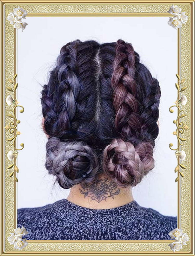 Buns on Crownrows Colored Box Braided Hairstyles