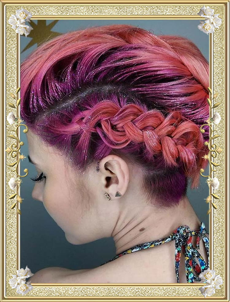 Glitter Undercut Red Color Braided Hairstyles