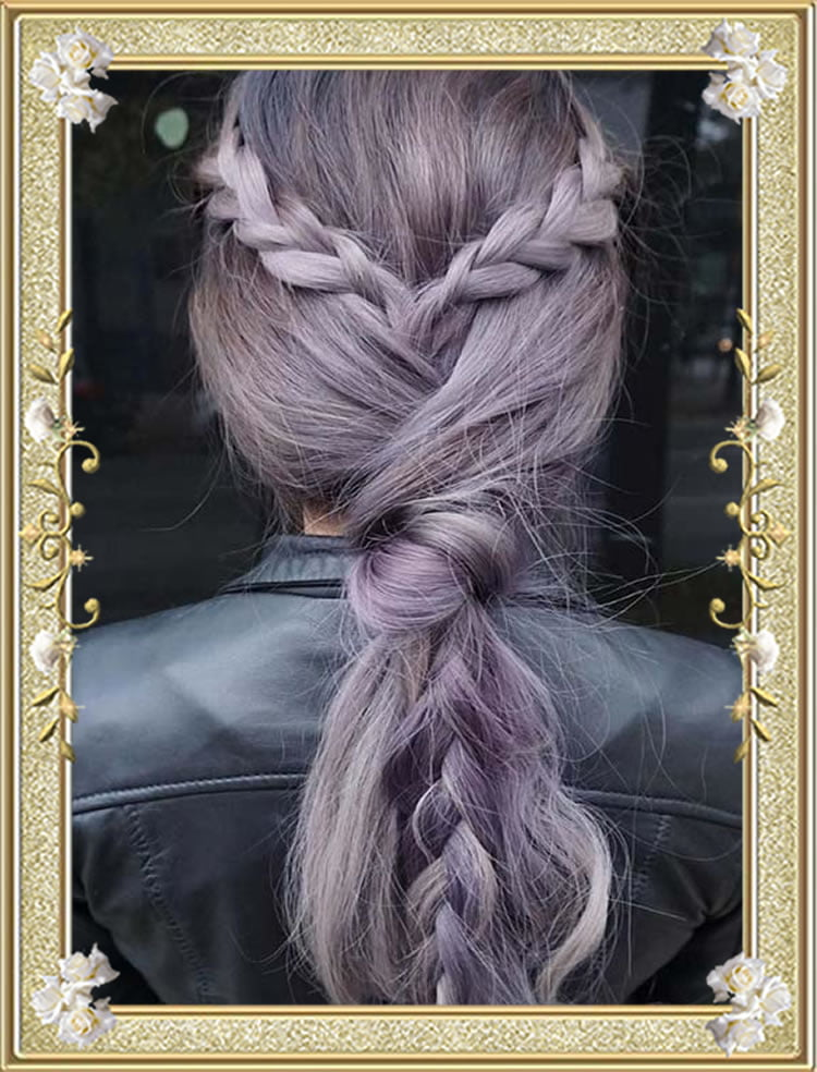 Knotted Ponytail Colored Braided Hairstyles