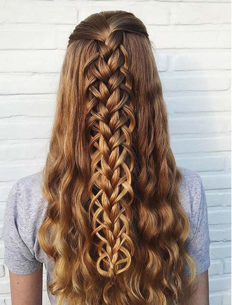 Lovely loop braided long hairstyles