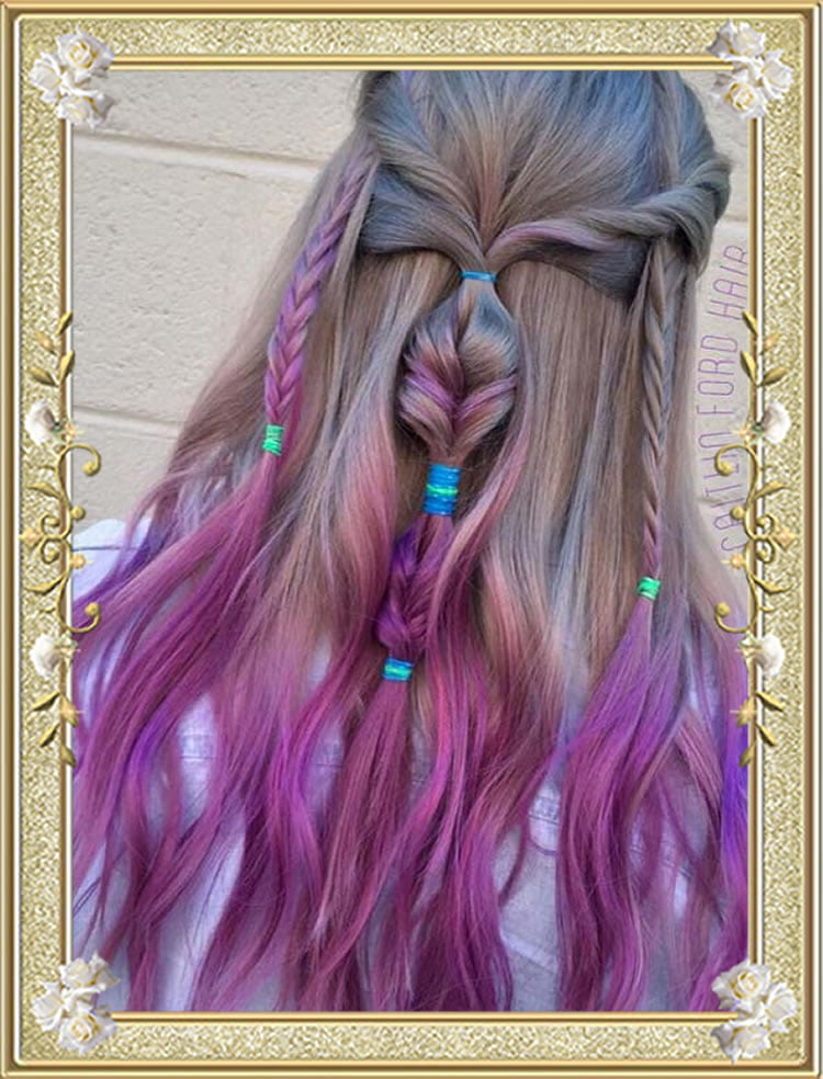 Multitextured Colored Braided Hairstyles