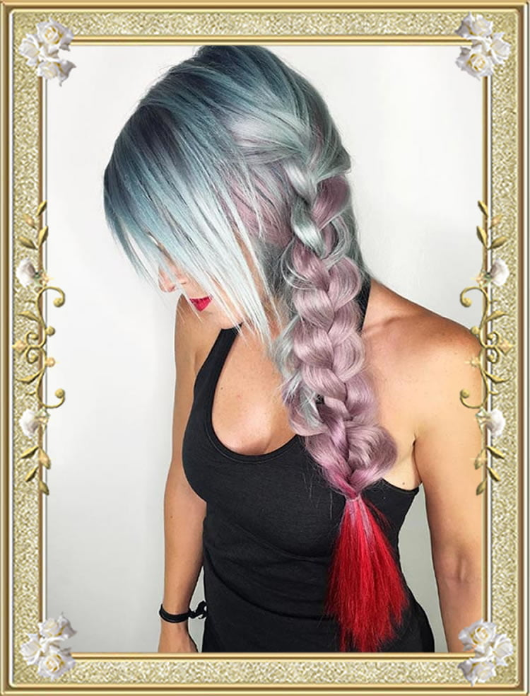 Ombre Side Colored Braided Hairstyles