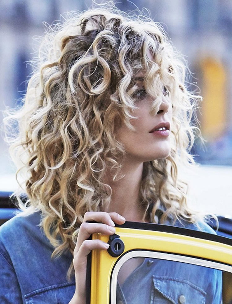 Perm hair blonde long curly hairstyles