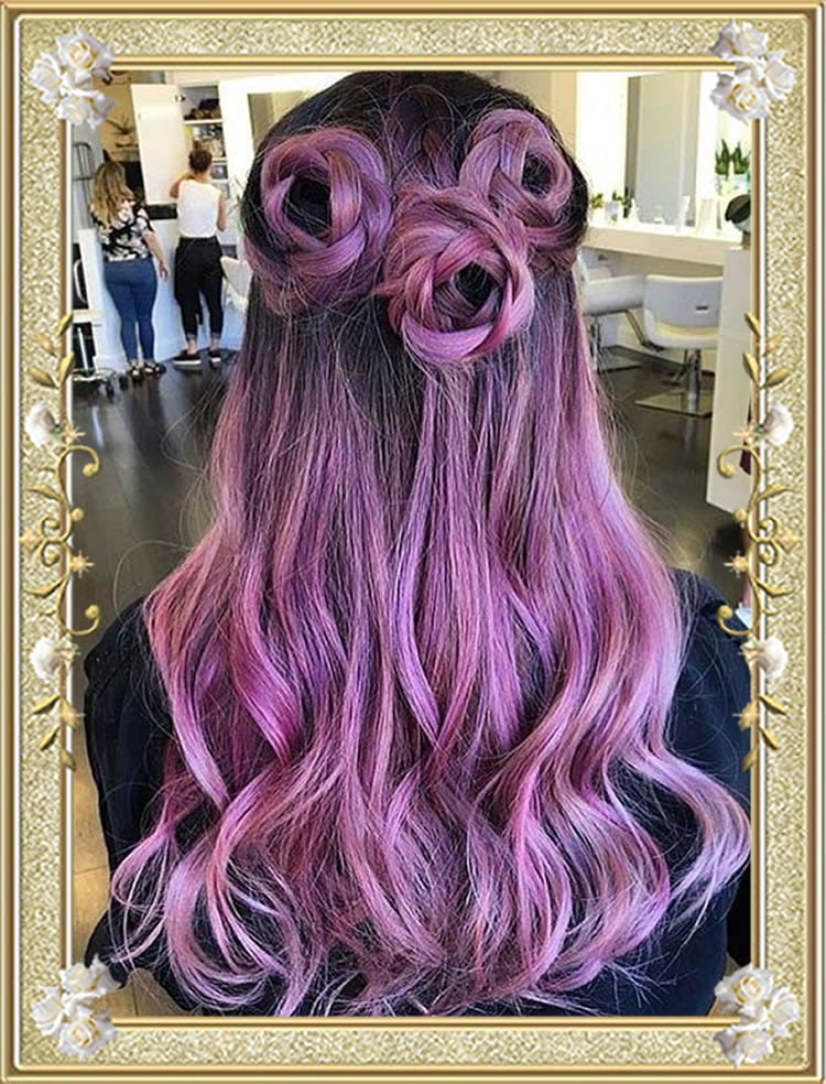 Pink Color Braided Hairstyles Braids Roses