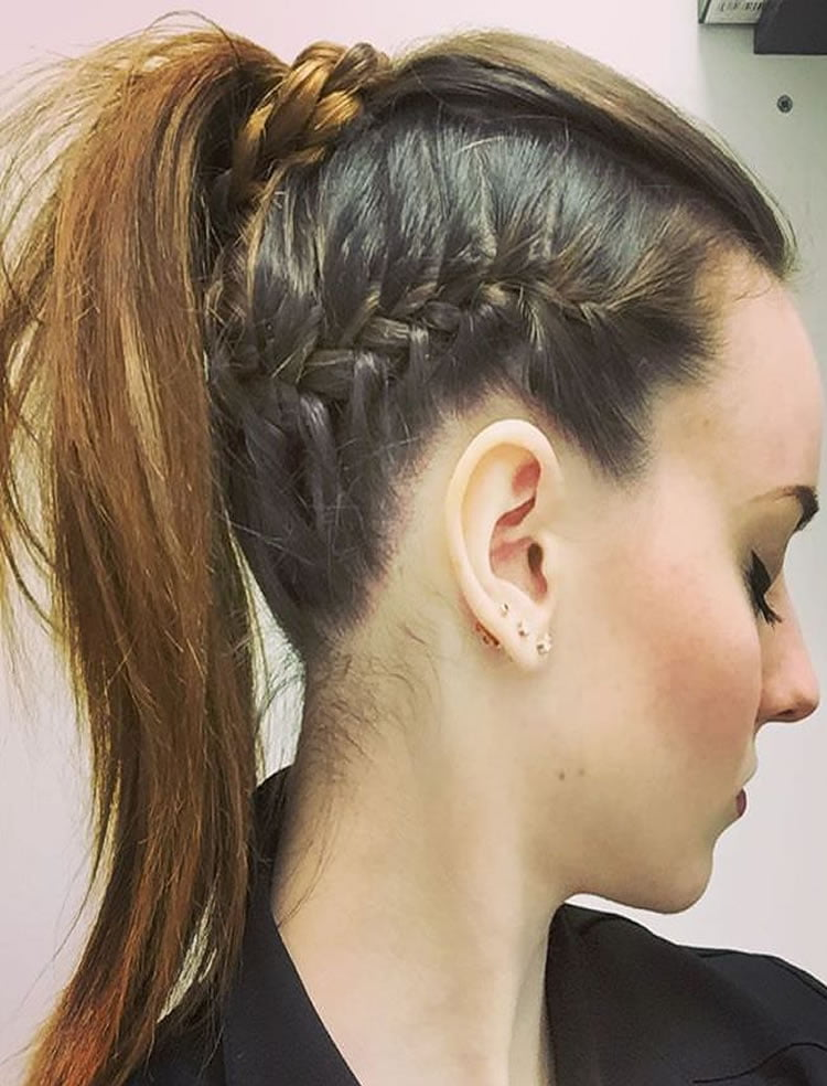 Ponytail hairstyles with side braid 2017