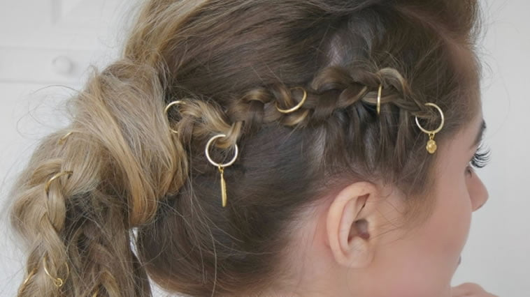 Ponytail long braided hairstyles with beaded