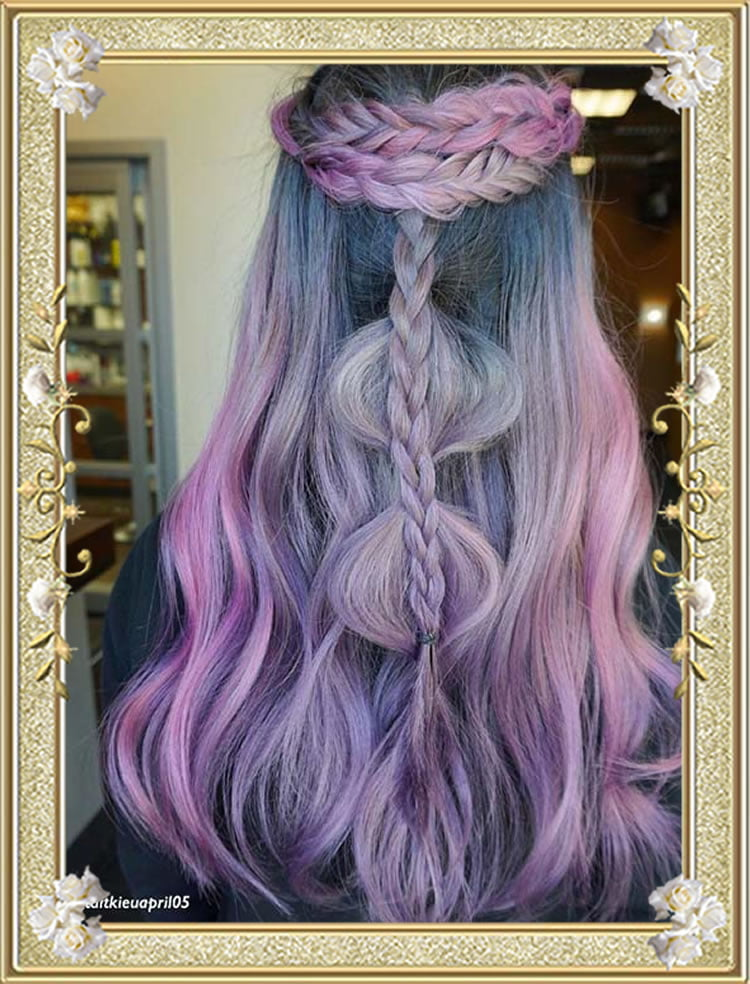 Half updo Purple Colored Braided Hairstyes
