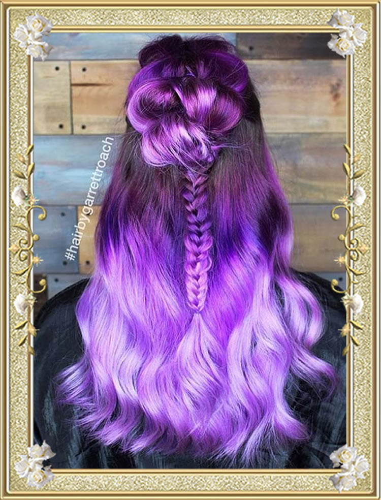 Purple Half up Colored Braided Hairstyles