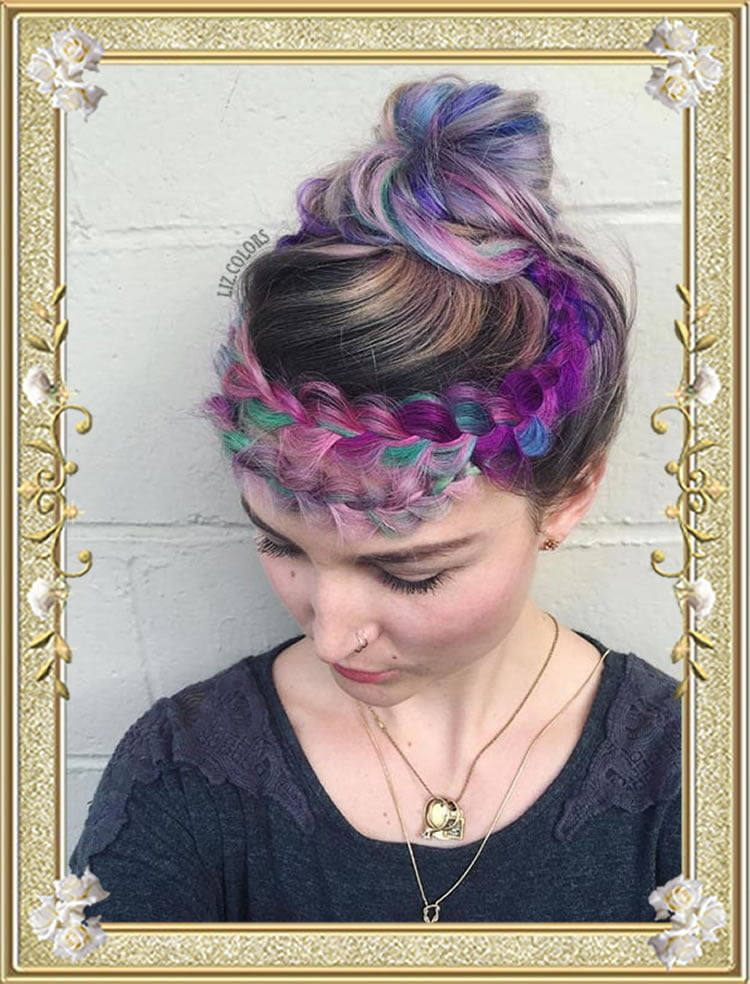 Rainbow Crown Braided Colored Hairstyles