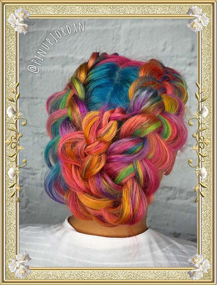 Rainbow French Braided Hairstyles 2017