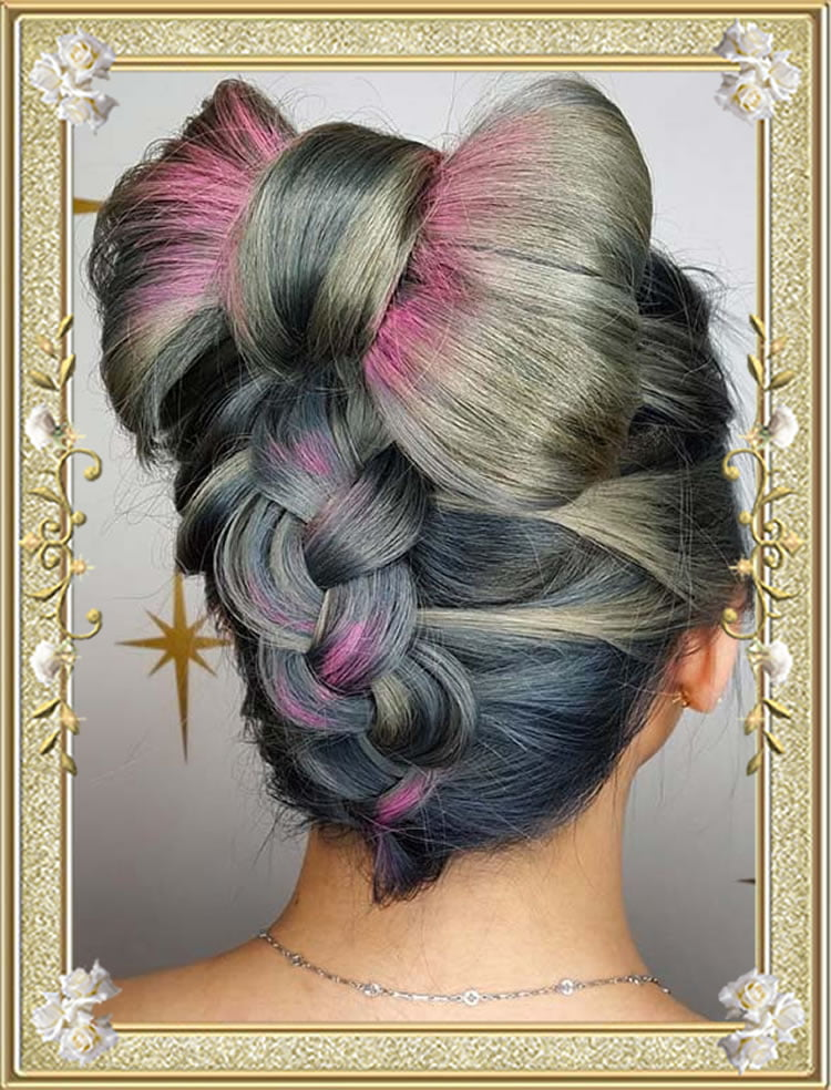Reverse Braided Bow Updo Hairstyles 2017