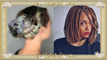 Snail Shell Colored Braided Updo Hairstyles