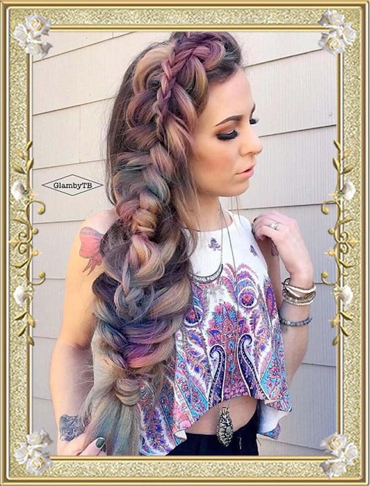 Stacked Side Colored Braided Hairstyles
