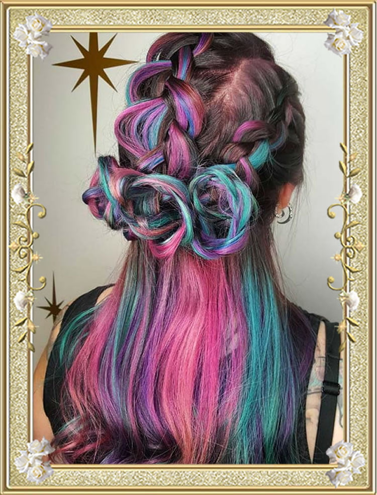 Triple Rose Colored Braided Hairstyles