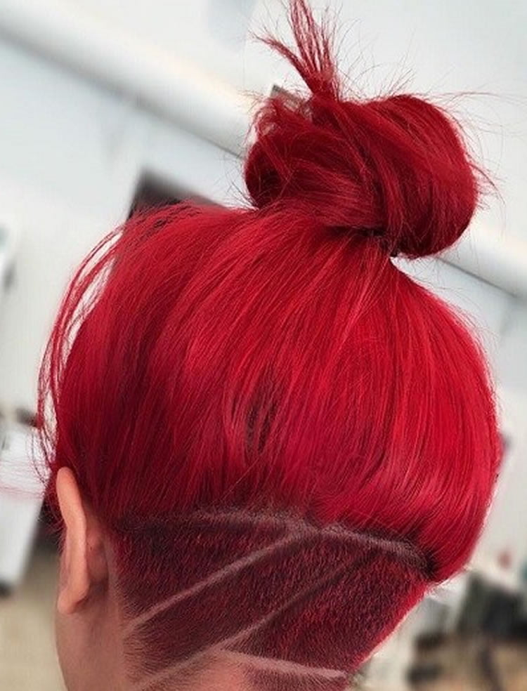 Wonderful undecut buns hairstyles for red hair