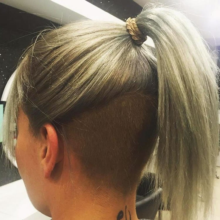Cool Blonde Ombre for Undercut Ponytail Hair