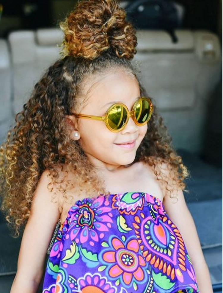 Long And Buns Hairstyles For Little Black Girls 2017