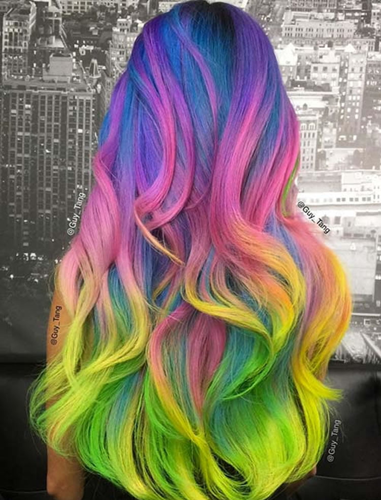 Neon Rainbow Ombre 2017 for Long Hair