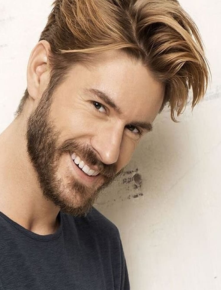 Prominent short hairstyles with beard for blonde men
