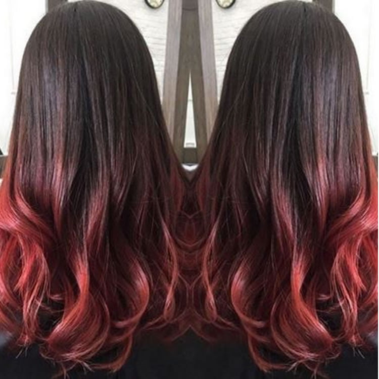Red Ombre for Long Hair 2017