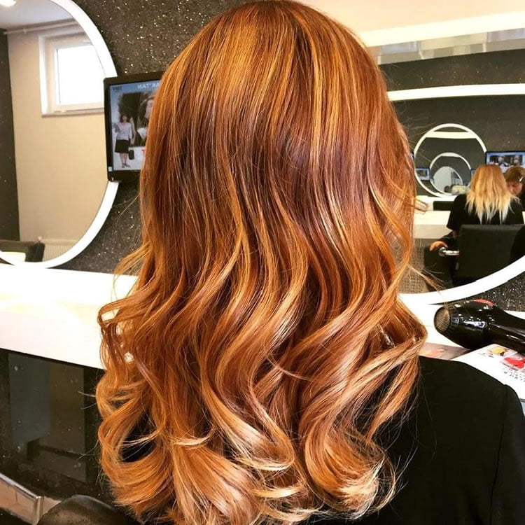 Sleek Red Ombre for Long Wavy Hair 2017