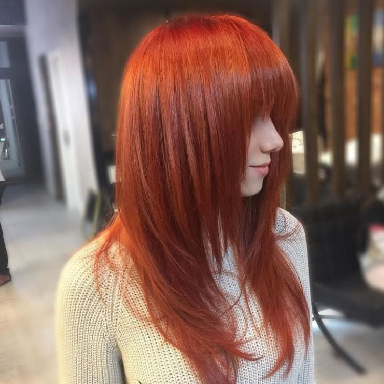 Spectacular Red Ombre for Long Straight Hair with Bangs 2017