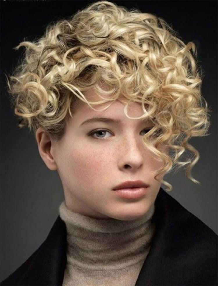 Blonde Short Curly Hairstyles With Side Bangs 2017 2018 Hairstyles