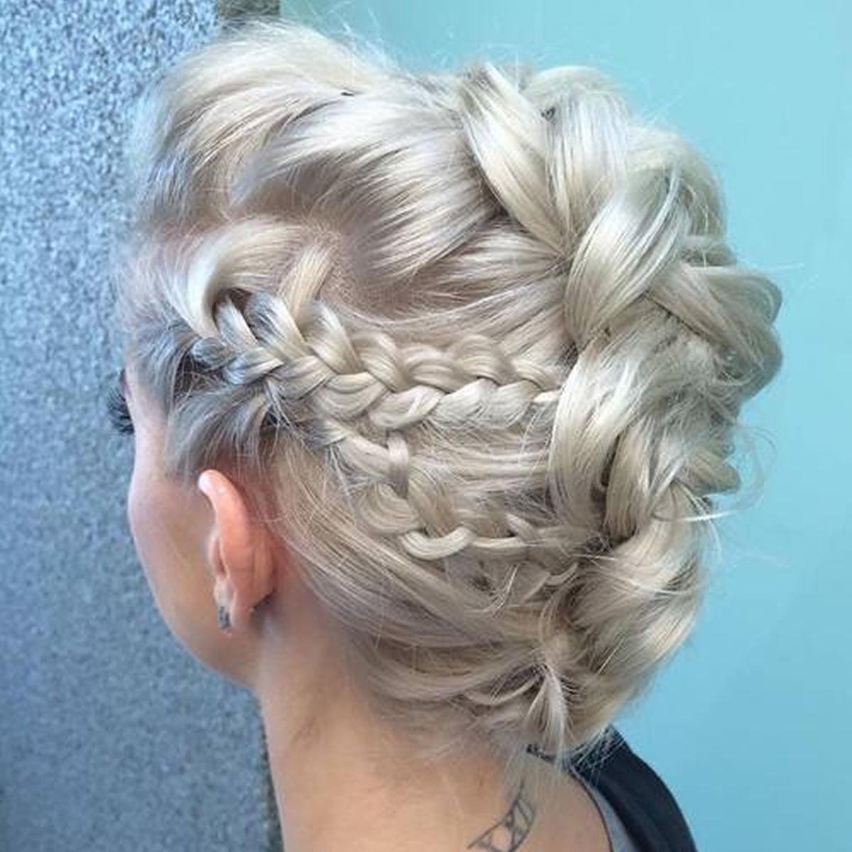 Platinum Blonde Braided Mohawk Updo Hairstyles
