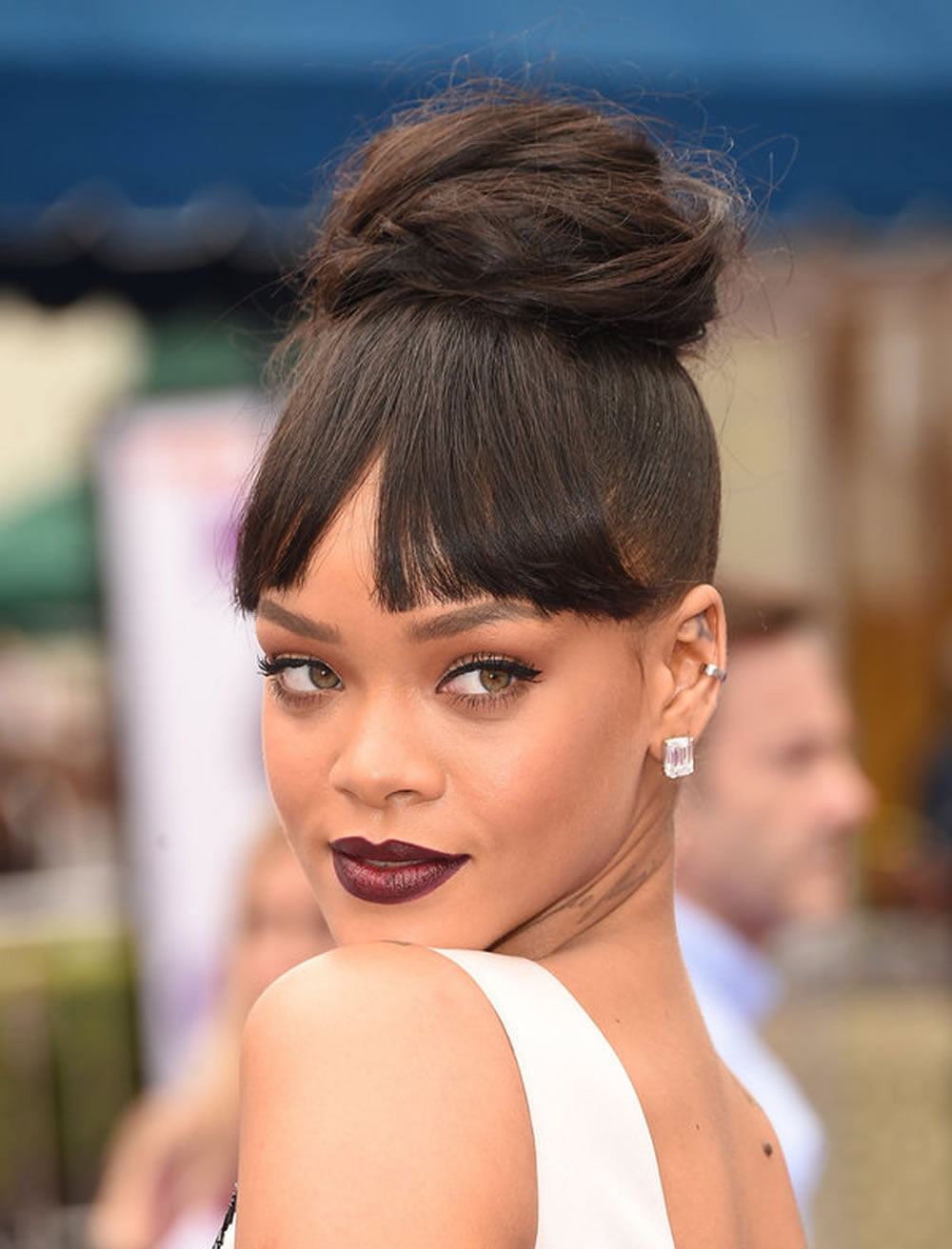 glorious 2018 updo bun hairstyles with bangs from rihanna – hairstyles