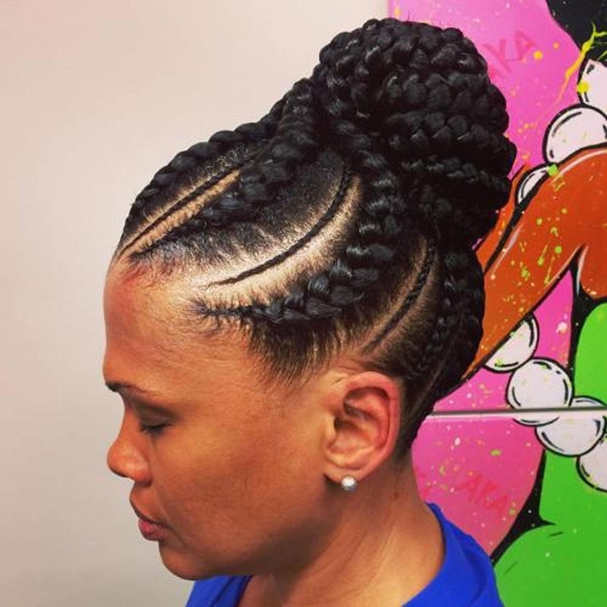 Black Womens goddess braids with a bun