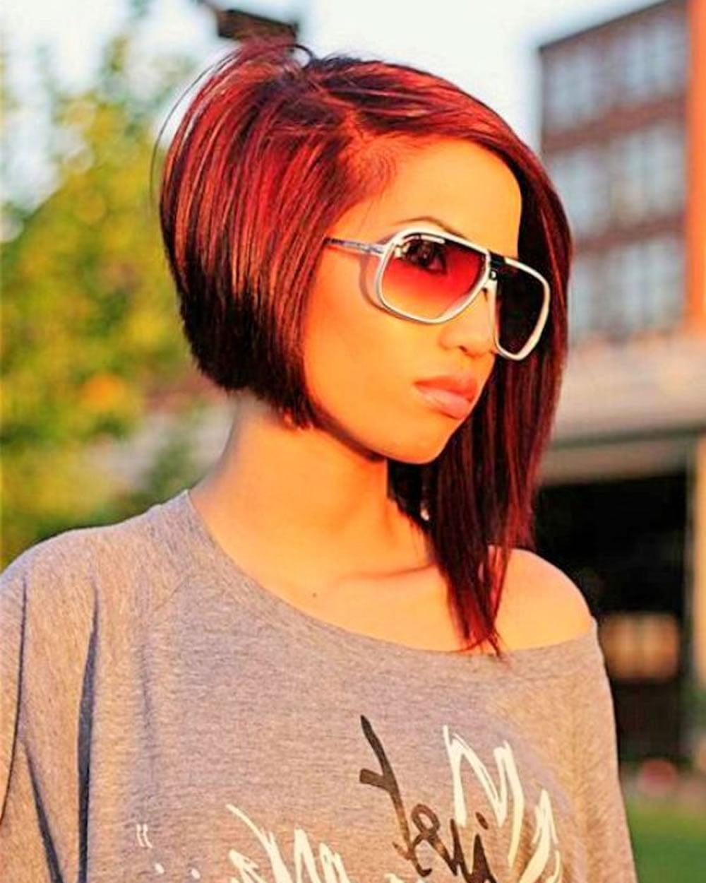 Red Hair Color Asymmetrical Short Hair 2018 Hairstyles