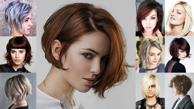 Hair Styles For Short Hair With Color: Balayage Asymmetrical Curly Bob Hairstyles