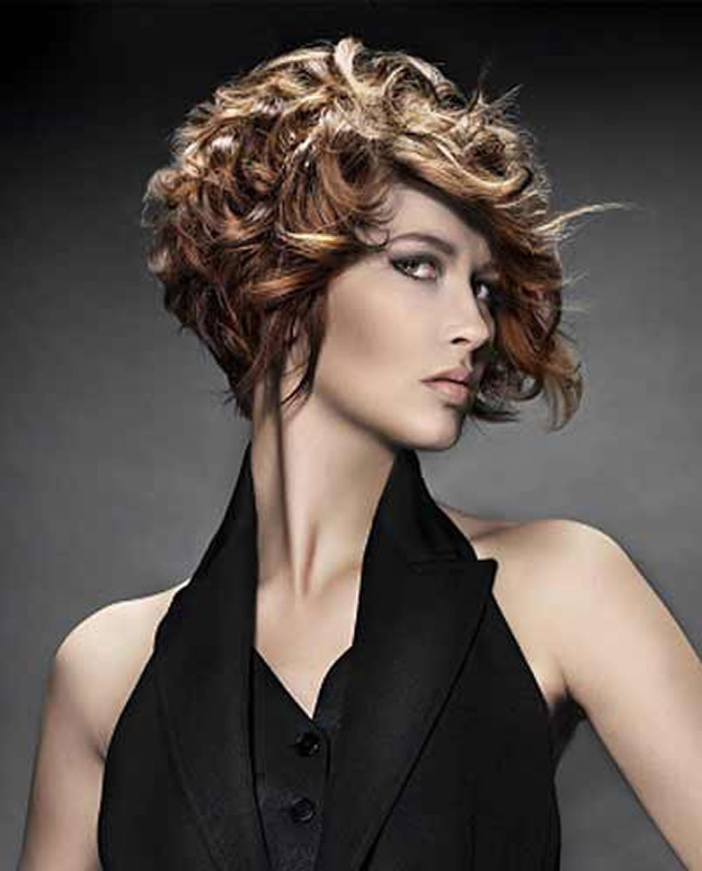 asymmetrical short curly hair styles 2018-2019 & short bob haircuts