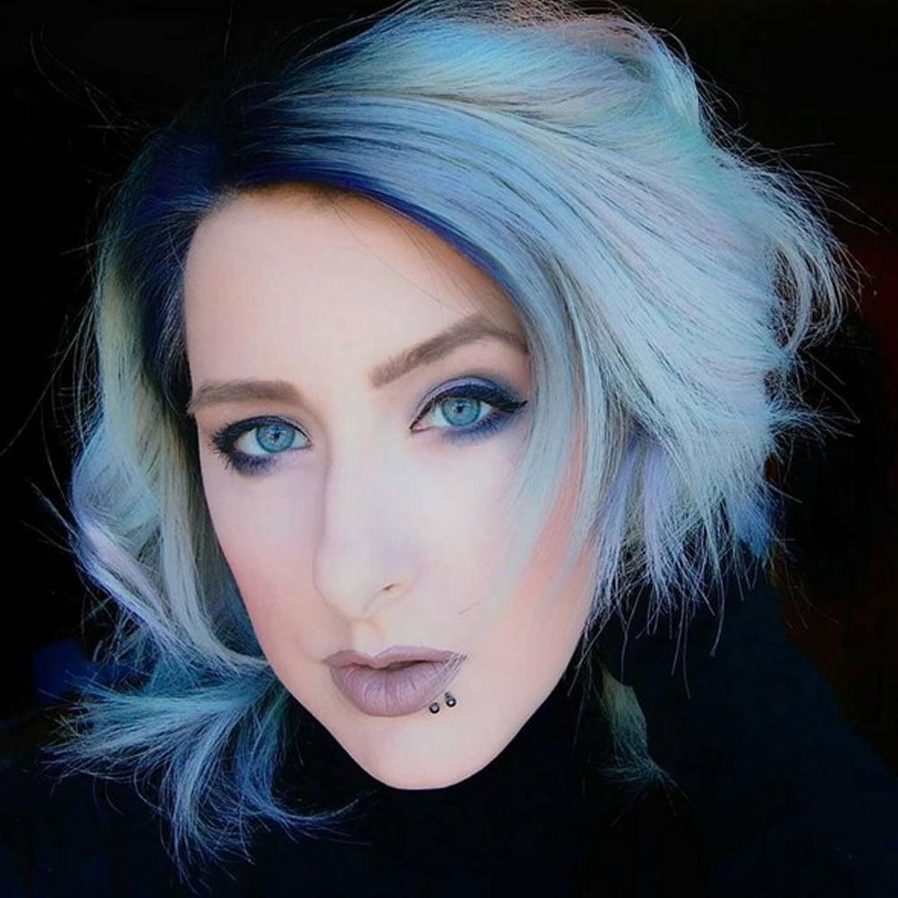 Hair Color Blue Black Pixie Cut