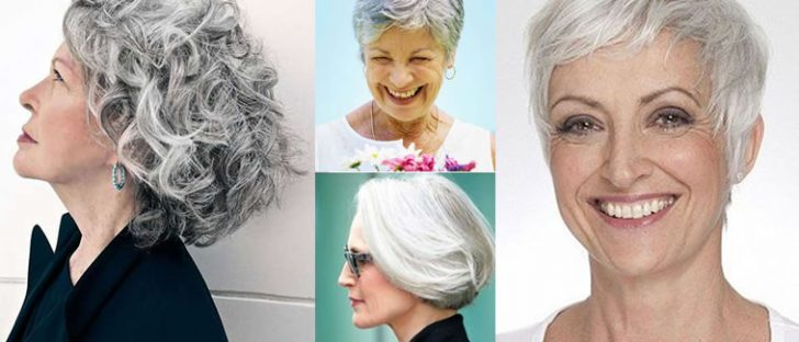 Short Gray Hairstyle Images and Hair Color Ideas for Older Women Over 50