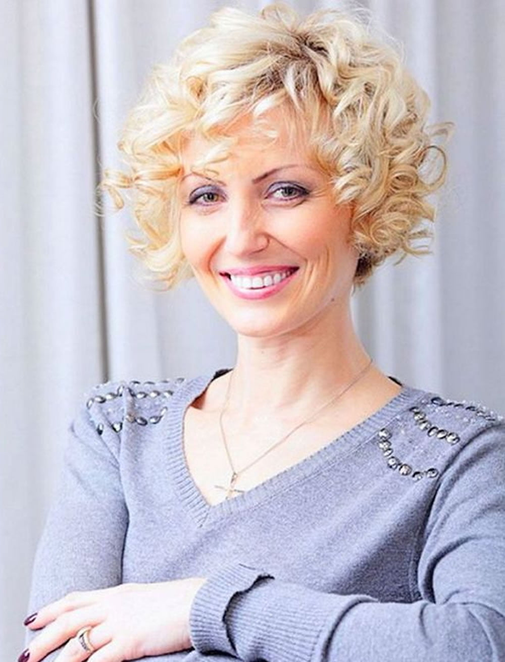Curly Short Hairstyles for Older Women Over 50