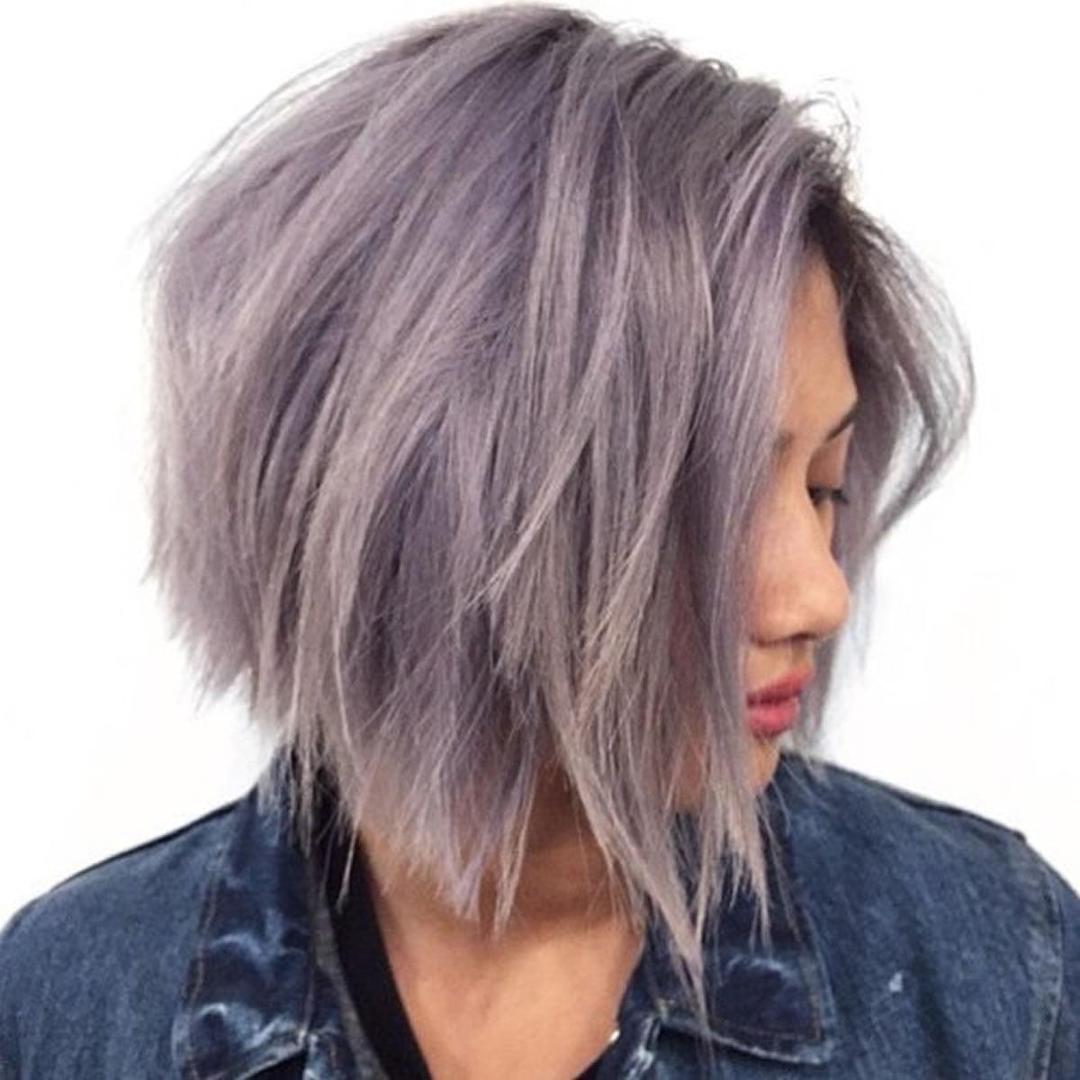 layered grey bob style