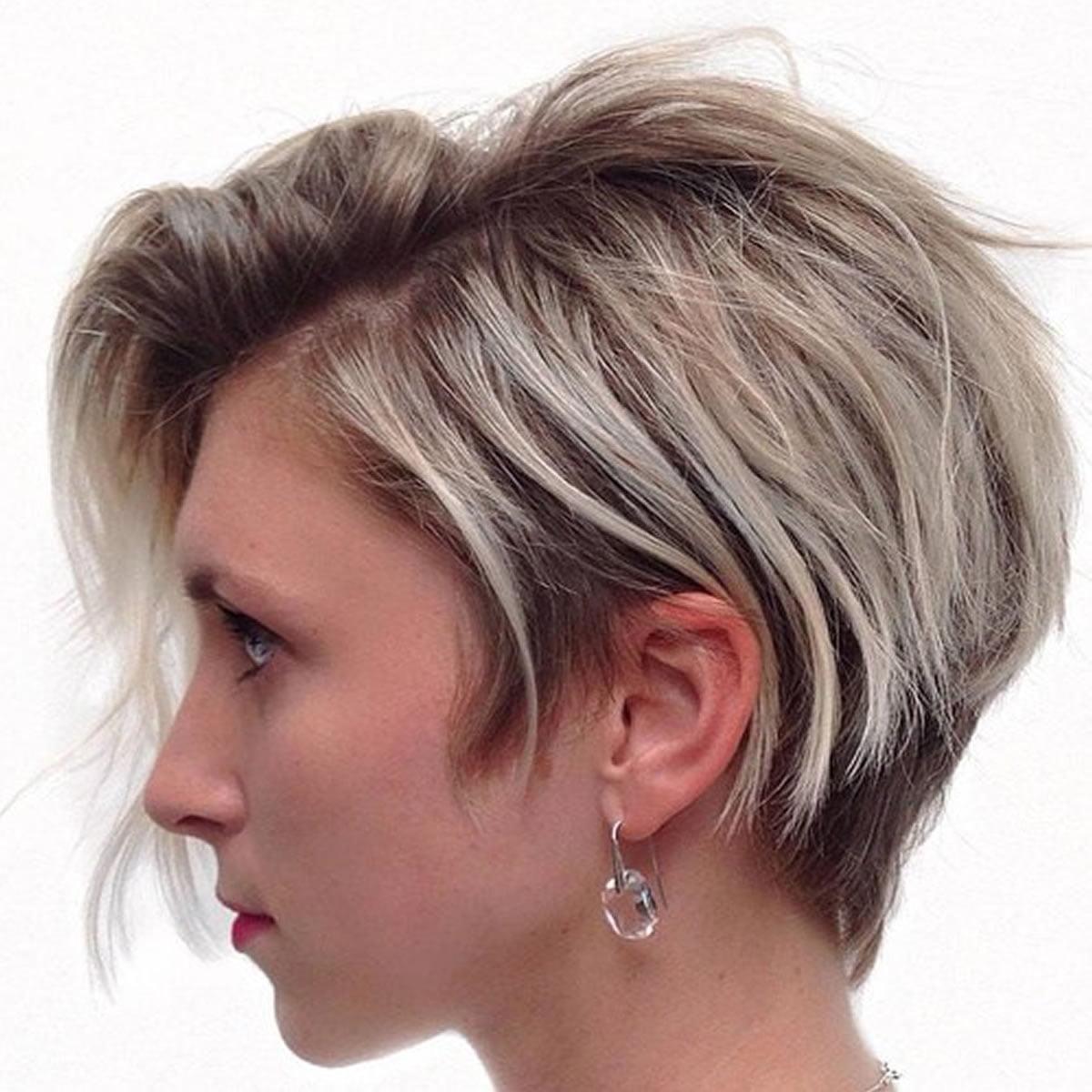 side swept short asymmetrical hair