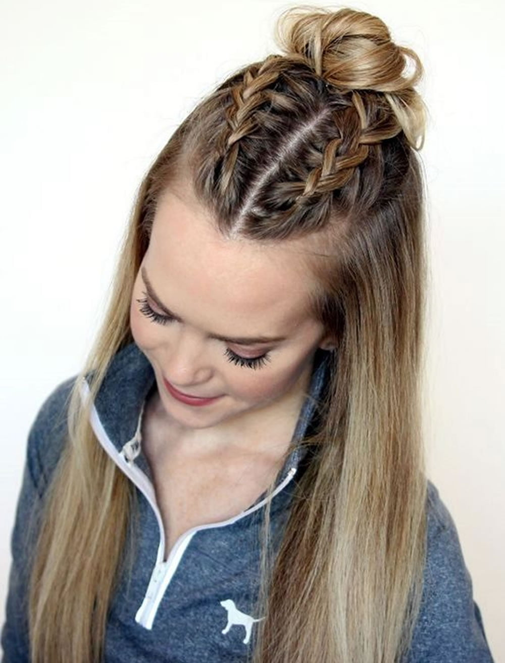 center parted back to school hairstyles