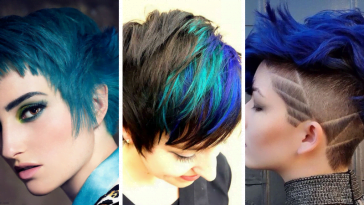 blue short haircut