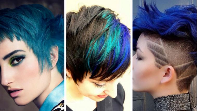 blue short haircut