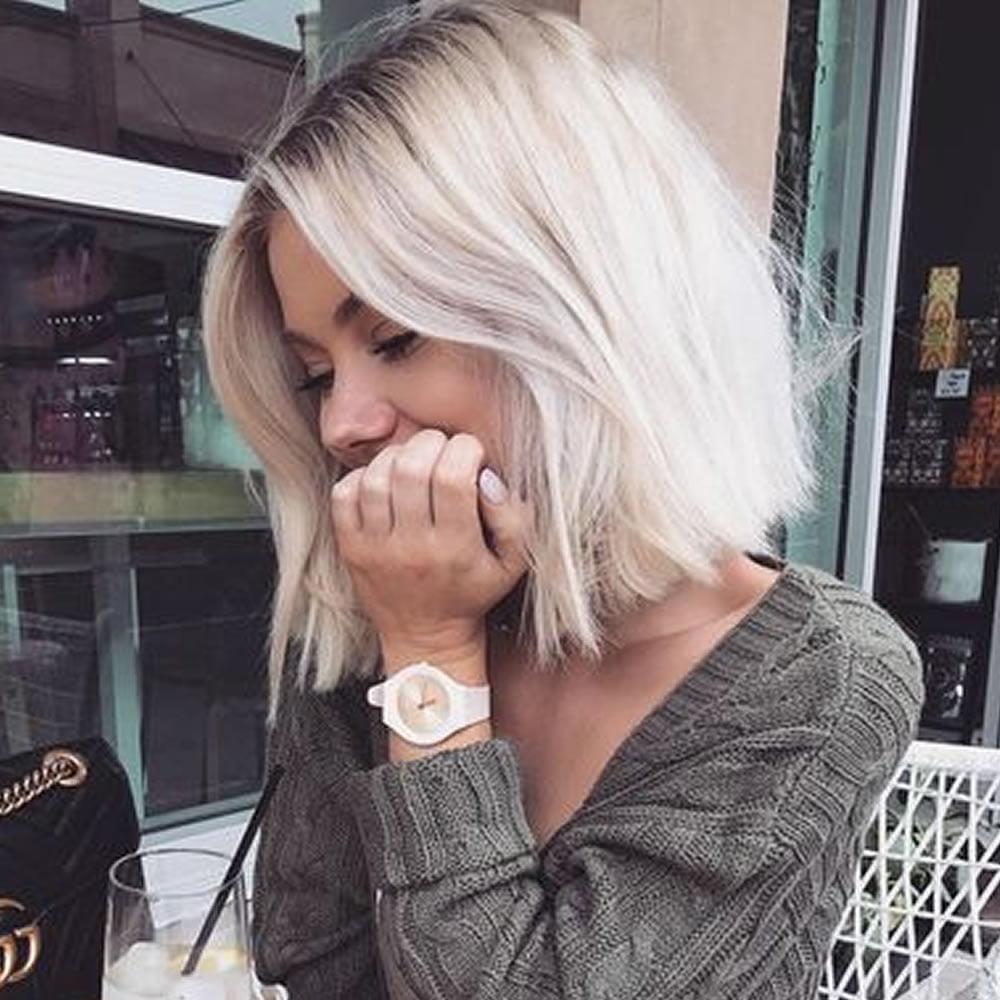 Ash blonde short bob