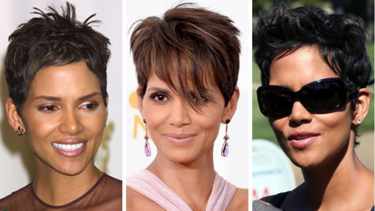 Halle Berry's hairstyles (Pixie + Short haircuts)