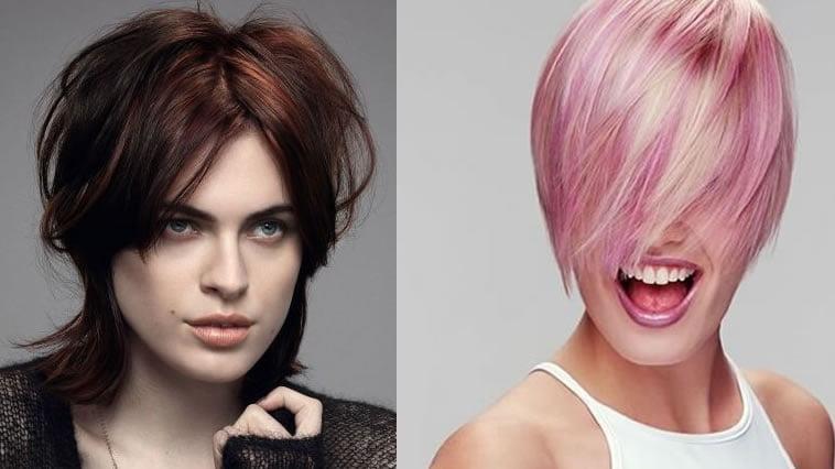 Pink hair color short bob