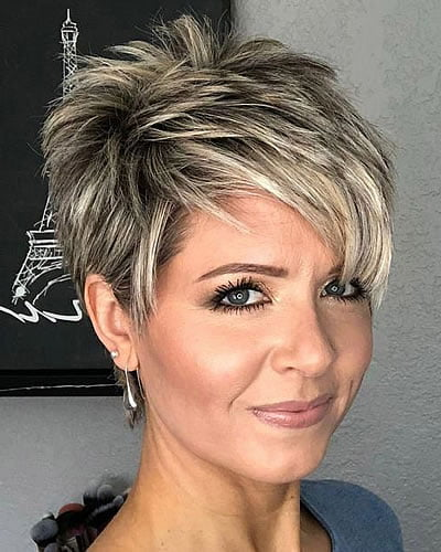 platinum balayage shaggy short hair