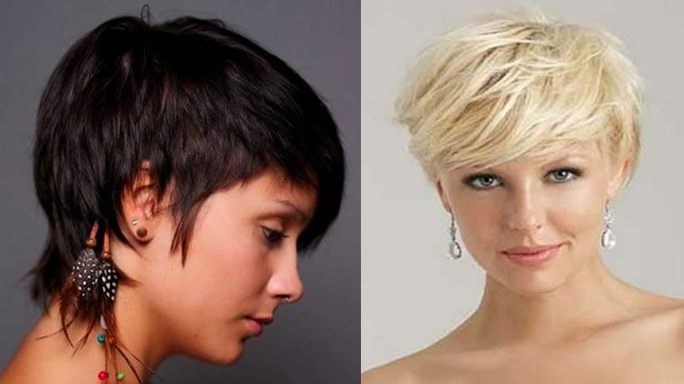 Blonde layered short hair style