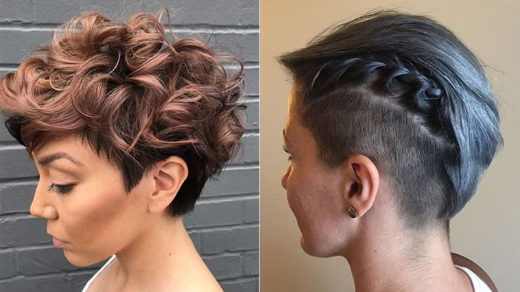 Curly short undercut hairstyle
